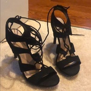 Gently worn Lace up heels in black (size 8)